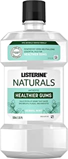 Listerine Naturals Healthier Gums Antiseptic Mouthwash, Fluoride-Free Oral Rinse To Help Prevent Bad Breath, Plaque Build-...