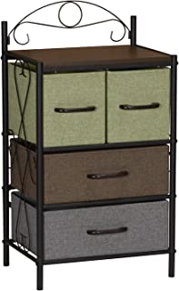 Household Essentials Victorian 4 Drawer Side Table | Storage Nightstand or Entryway Shelf
