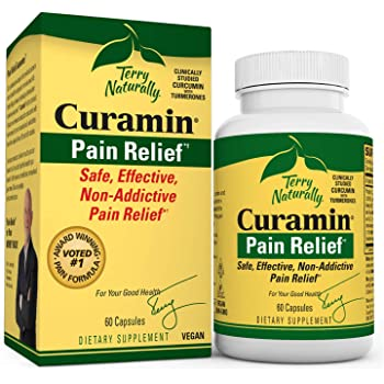 Terry Naturally Curamin - 60 Vegan Capsules - Non-Addictive Pain Relief Supplement with Curcumin from Turmeric, Boswellia & DLPA - Non-GMO, Gluten-Free - 20 Servings