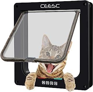 CEESC 4WAY ペットドア 小型 犬 猫 ペット出入り口 ドア 勝手口 扉 冷暖房対策 日本語取扱説明書付き(ブラック, 中)