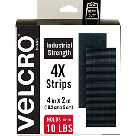 VELCRO Brand Heavy Duty Fasteners | 4x2 Inch Strips 4 Sets | Holds 10 lbs | Stick-On Adhesive Backed | Black Industrial Strength | For Indoor or Outdoor Use, 90209