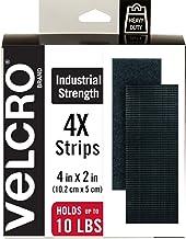 "VELCRO Brand - Industrial Strength Fasteners, 2"" x 4"" Strips, 4 Sets, Black"