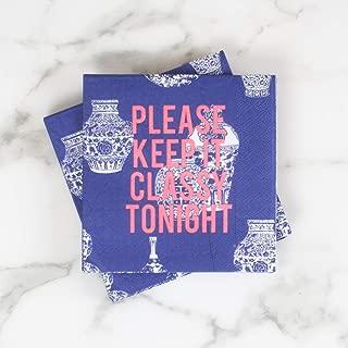 Keep It Classy Ginger Jar Cobalt Blue 5 x 5 Paper Beverage Napkins Pack of 20