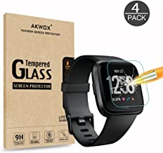 AKWOX [4 Pack] Fitbit Versa Tempered Glass Screen Protector, [0.3mm 2.5D High Definition] Screen Protector for Fitbit Versa [9H Hardness] [Crystal Clear] [Scratch Resist] [No-Bubble]