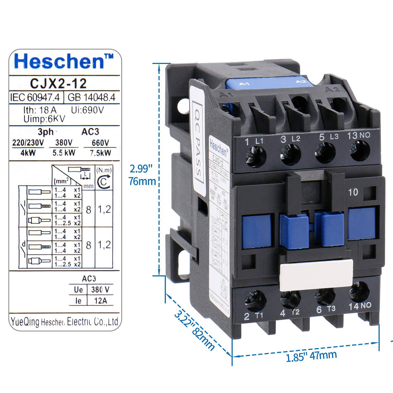 Heschen AC Contactor CJX2-1201 24V 50/60Hz Coil 3P 3 Pole Normal