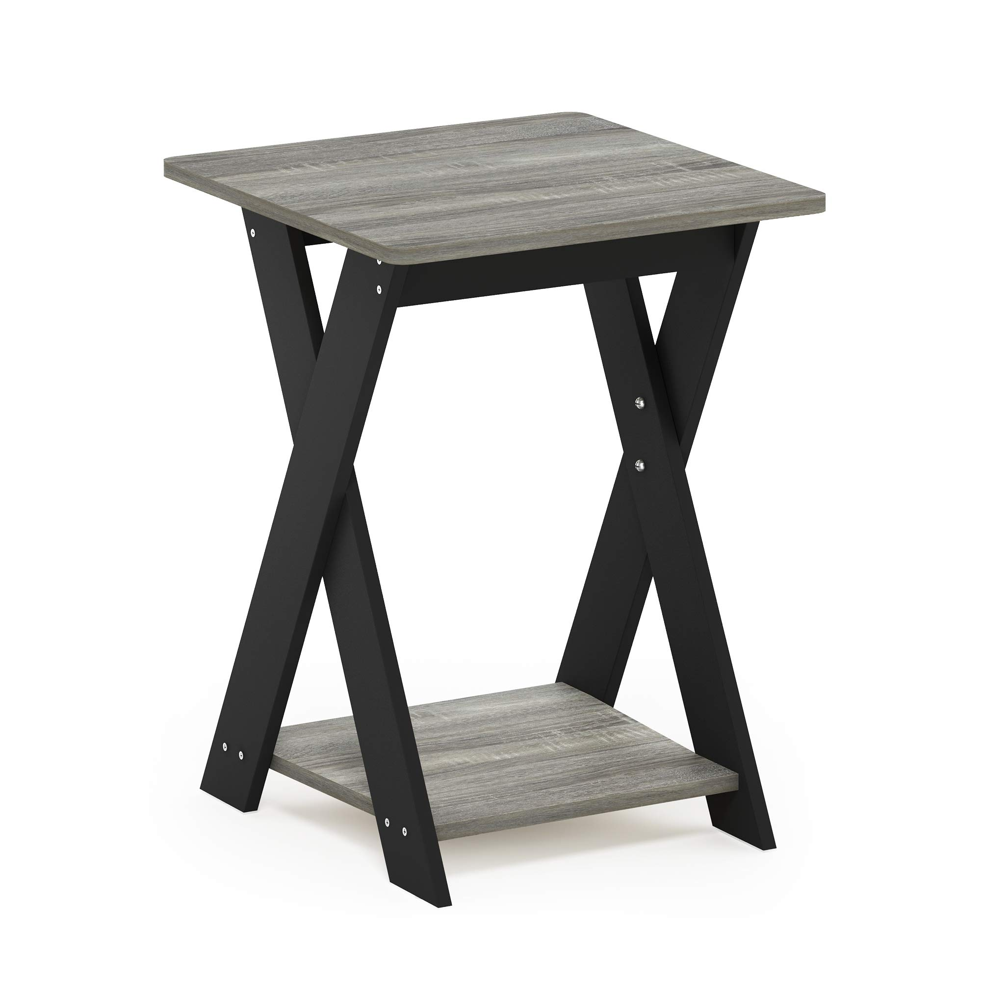 Furinno Modern Simplistic Criss Crossed End Table French Oak Grey Furniture Decor