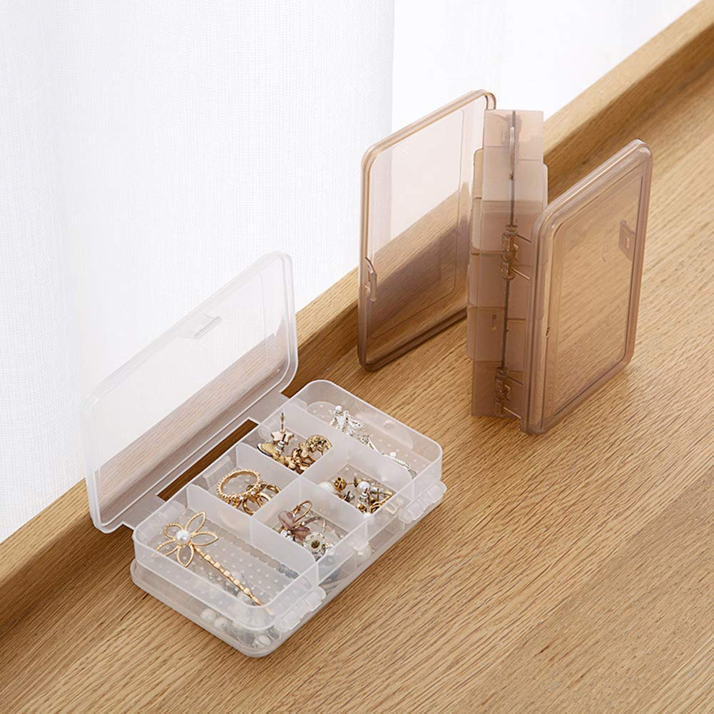 2pcs Plastic 2 Layer Clear Jewelry Bead Organizer Box Storage Container Case
