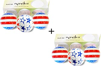 Navika Patriotic USA Flag and Stars Golf Balls Como 2 Pack (Sleeve of 3 Balls)