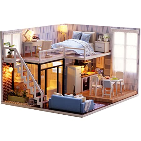 Dream Angel MAGQOO 3D Wooden Dollhouse Miniature Kit DIY House Kit with Furniture,1:24 Scale Creative Room Dust Proof Included