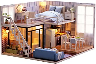 MAGQOO 3D Wooden Dollhouse Miniature DIY House Kit with Furniture,1:24 DIY Dollhouse Kit (Blue Time Dust Proof Included)