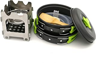 Outdoor portable camping cookware, aluminum alloy ultra-light split cookware, outdoor supplies picnic cookware-green