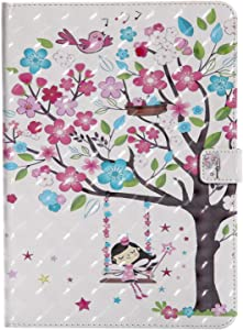 Bear Village  iPad 2017 iPad 2018  9 7 Inch  Case  Premium Leather Case with Multiangle Viewing Stand and Card Slots for Apple iPad 2017 iPad 2018  9 7 Inch   Tree Girl