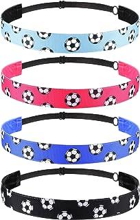 4 Pieces Non-slip Soccer Headband Adjustable Football Hairband for Girl Sport (Color Set 1)