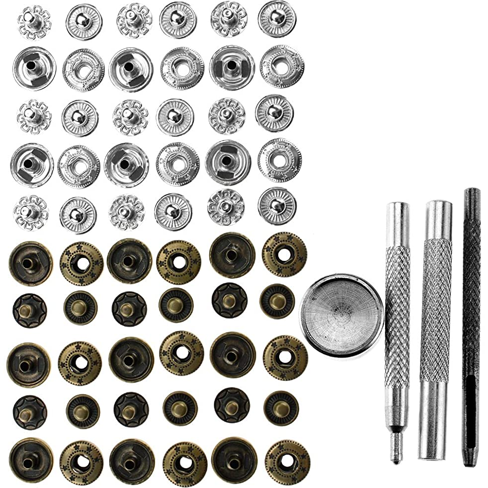 30x 12mm Button Snap Fastener Poppers Press Stud+4 Fixing Tool Leather Craft DIY