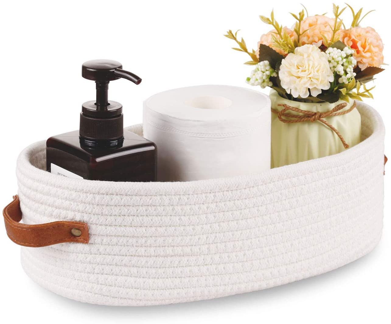 Oradrem Woven Storage Basket for Toilet Tank Top,Farmhouse Home Decor Organizing Baskets for Bathroom,Table and Counter 13