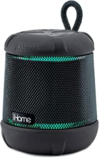 iHome iBT155 Bluetooth Speaker Weather Tough Color Changing Waterproof Portable Wireless Speaker with Built-in Passive Sub...