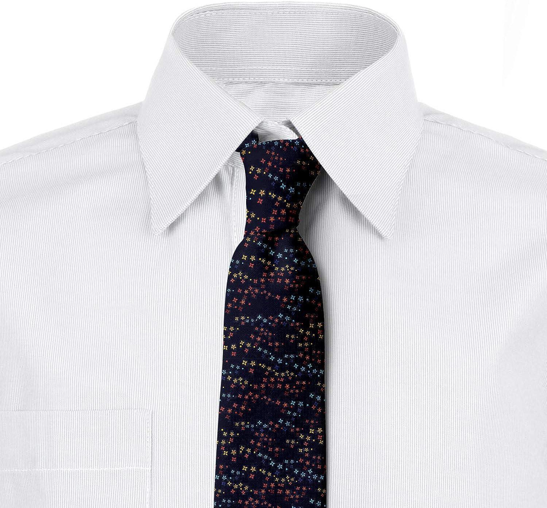 Ambesonne Necktie, Vibrant Stars Flowers, Dress Tie, 3.7