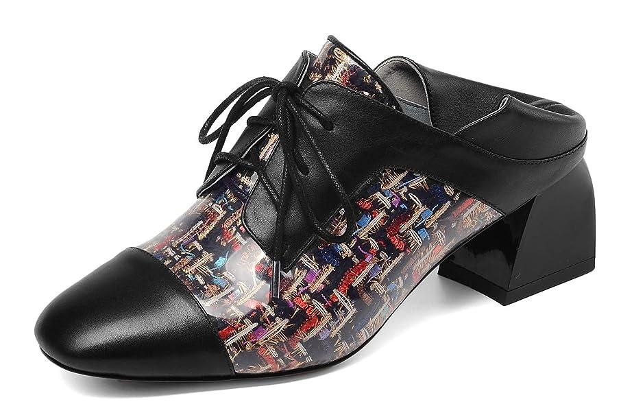 一次性別ながら[チカル] レディース レースアップ ブーティ 2Way ミュール 編み上げ ブーツ おじ靴 手造り ウェスタン シューズ ブーティー ショートブーツ 短靴 美脚 おじ靴 5cm チャンキーヒール 牛革 レザー 本革 大きいサイズ