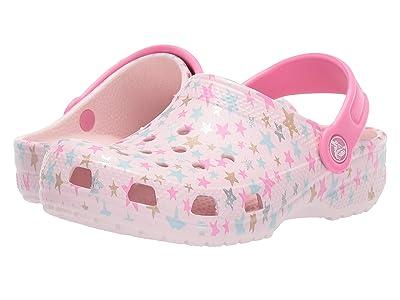 Crocs Kids Classic Printed Clog (Toddler/Little Kid/Big Kid) (Barely Pink) Girl