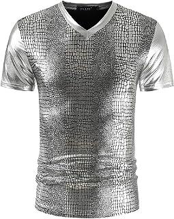 Abeaicoc Mens Shiny Sequins Metallic V-Neck Slim Short Sleeve T-Shirt Tee