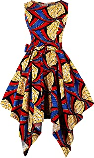 8d9d7cae02d5 Wellwits Women's Dashiki African Print High Low Asymmetric Vintage Dress