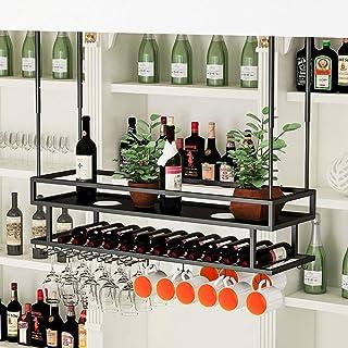 ZLJ Casiers à vin de Style Plafond Porte-Bouteille de vin Suspendu avec Porte-gobelets Hauteur réglable Verres à vin Suppo...
