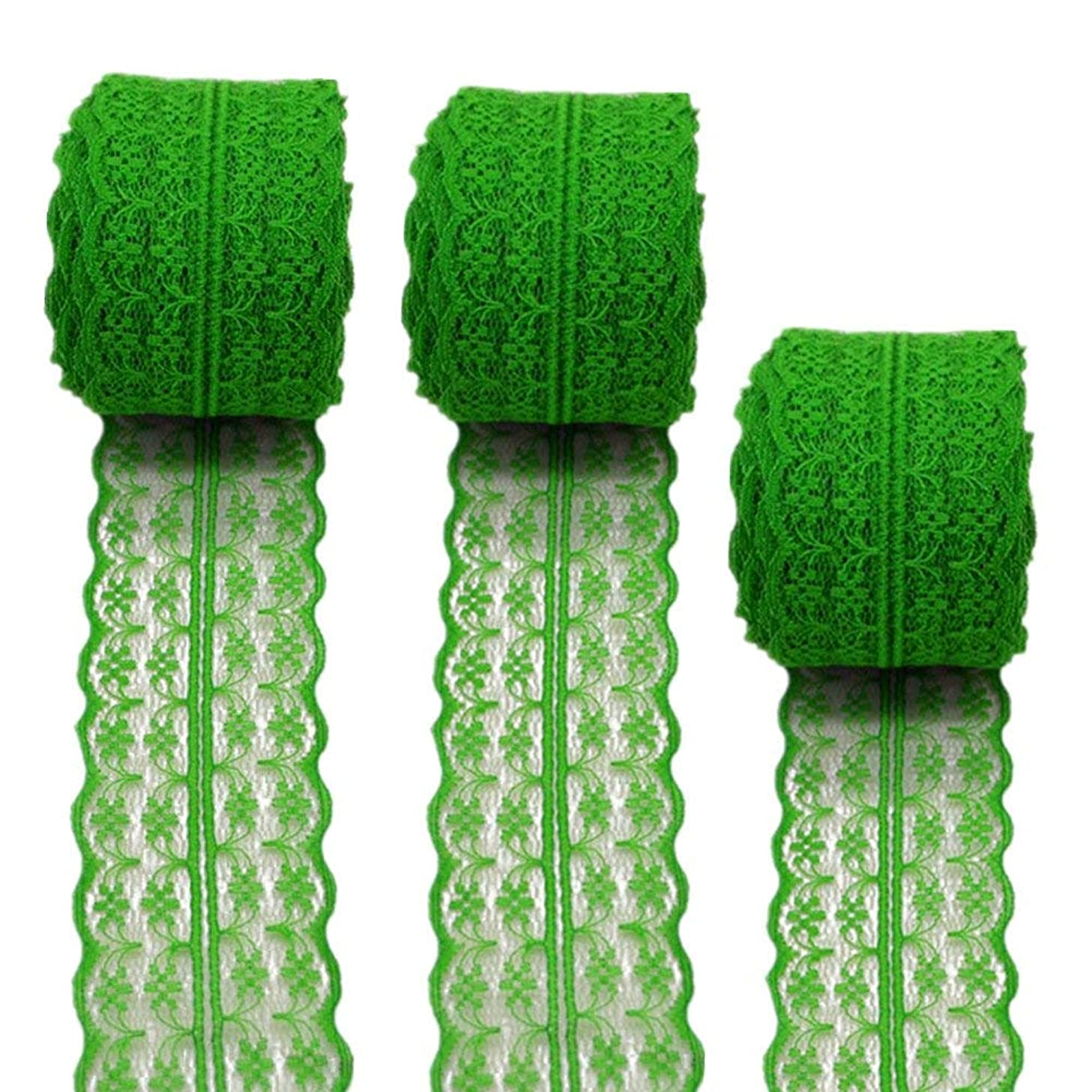 3 Rolls 10 Yards Floral Lace Ribbon Lace Trim Webbing Fabric for DIY Jewelry Making Craft Clothes Accessories Gift Wrapping (Green)