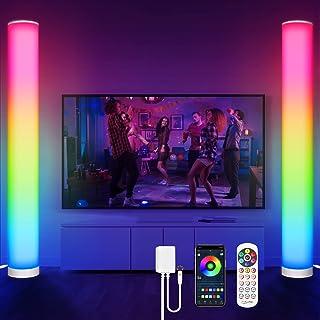 KINGLEAD Lampadaire Sur Pied Salon, 2 pièces RGB Lampadaire Salon D'angle Lampe Couleurs Réglable, Lampe avec Télécommande...