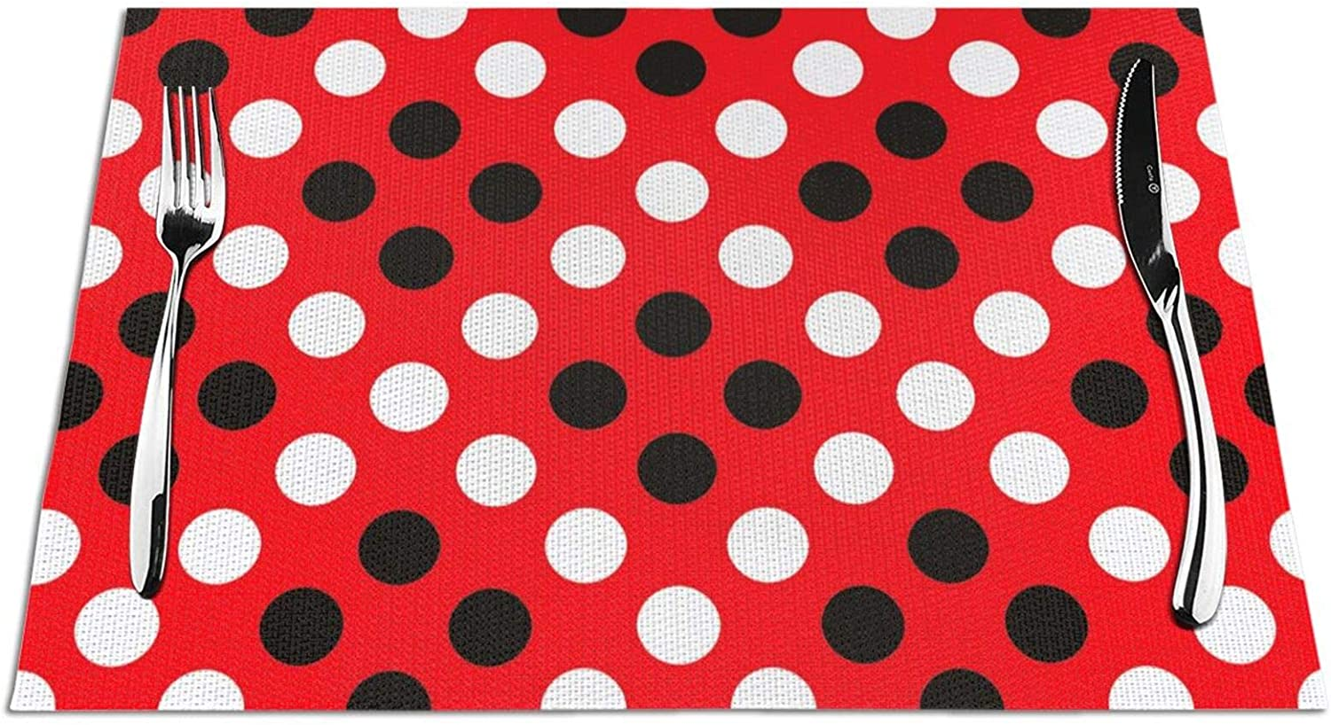 KPJDWEDS Red White Polka dot Easy Special sale item Placemats to Clean Washable 4 years warranty