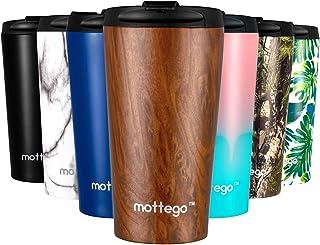 mottego (モッテゴー) 真空断熱 ステンレス タンブラー ふた付き 保温保冷 マグ ボトル (ダークウッド, 350ml)