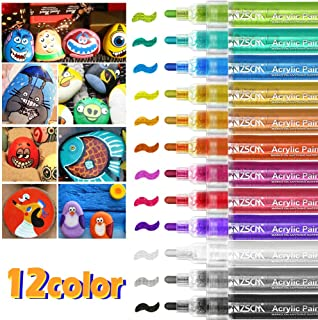 ZSCM Acrylic Paint Pens Markers, WaterProof Paint Pen for Rock Painting, Ceramic, Glass, Wood, Fabric, Canvas, Mugs, DIY Craft Making Supplies, Scrapbooking Craft, Card Making,Medium Tip 12 Colors
