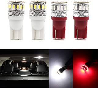 Dantoo Super Bright T10 LED Bulbs 194 168 2825 175 192 W5W Wedge Dome Lights 18 SMD Light Lamp for for Car Interior Map License Plate Trunk Parking Light, 2 White + 2 Red