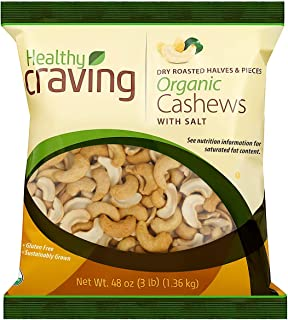 Healthy Craving Organic Cashews, 3lbs I Dry Roasted, Salted, Halves and Pieces, Vegan Snacks, Vegetarian-Friendly, Kosher,...