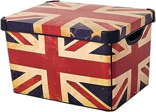 Curver 22 Litre Large Plastic Stockholm Deco Union Jack Storage Box, Multi-Colour by Curver