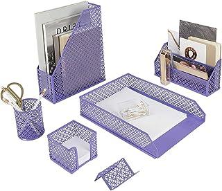ست تنظیم کننده میز بنفش Blu Monaco 5 قطعه - سازمان دهنده های میز و لوازم جانبی برای زنان - لوازم جانبی میز تحریر بنفش زیبا - سازمان دسکتاپ