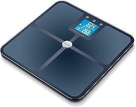 Beurer BF 950 Báscula de baño corporal diagnóstica Bluetooth, compatible con la App en español Health Manager, gran plataforma, apto embarazadas, hora y temperatura, Android y iOs, negro