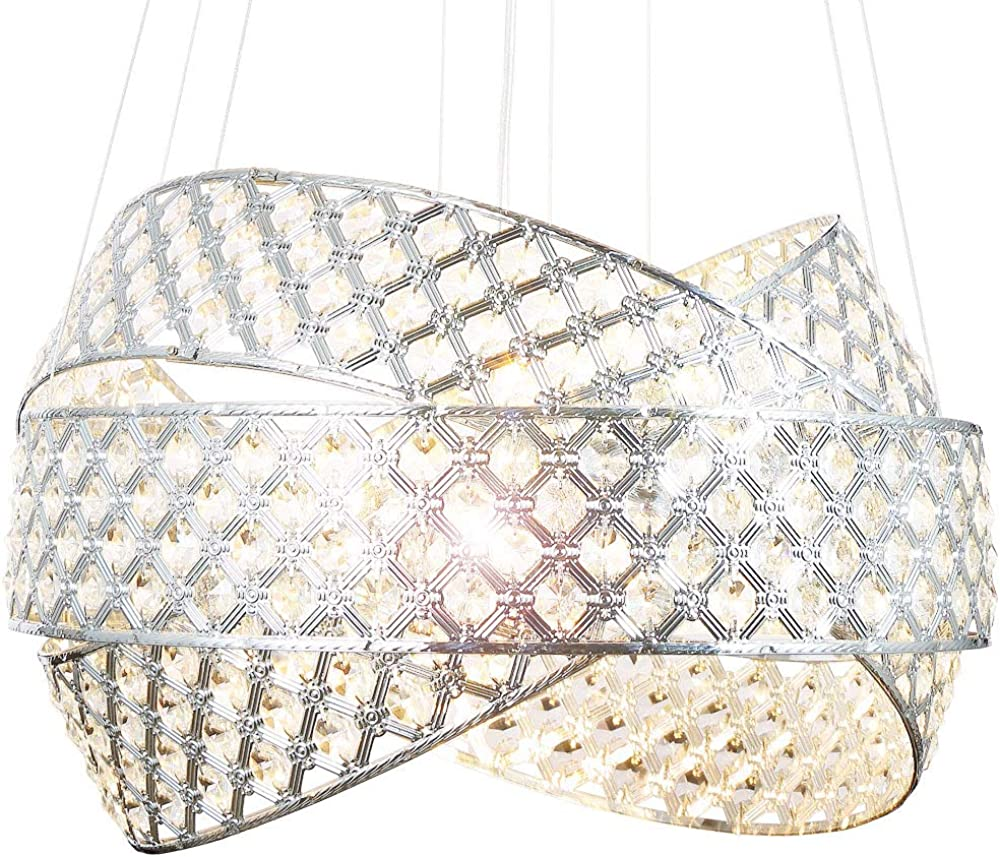 Lewima,lampadario da soffitto, in metallo cromato e scintillanti cristalli di vetro HA835-5