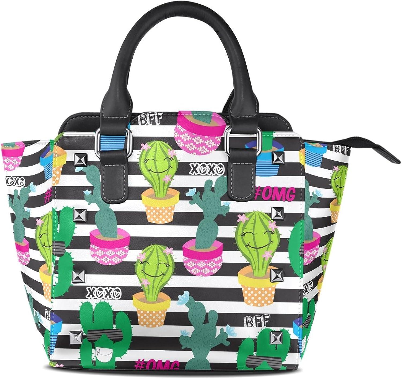 My Little Nest Women's Top Handle Satchel Handbag Cute Cactus Ladies PU Leather Shoulder Bag Crossbody Bag