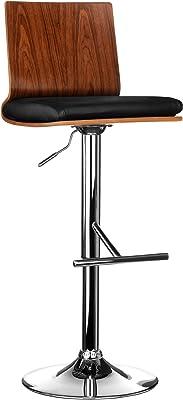 Premier Housewares 2402829 Chaise de Bar en Bois de Noyer Effet Cuir Noir et Base Chromé