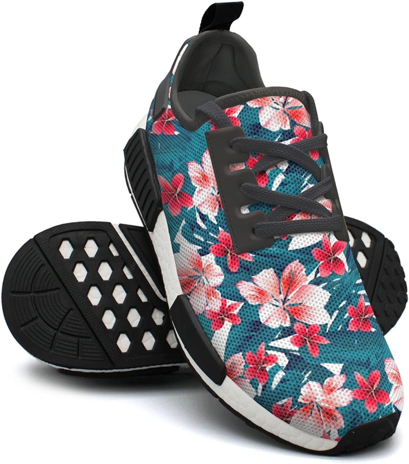 Red And White Tropical Hibiscus Flowers Ladies Jogging shoes Nmd Sports Tennis shoes