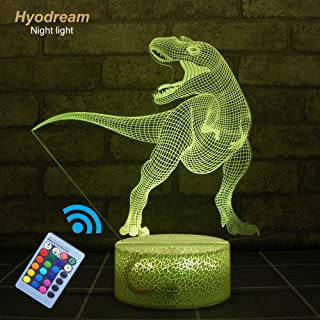 Hyodream Dinosaur Lamp,Dinosaur Light Kids Night Light,16 Colors with Remote 3D Optical Illusion Kids Lamp as a Pefect Gifts for Boys and Girls on Birthday or Holiday (Tyrannosaurus)