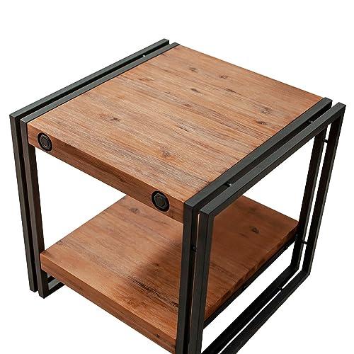 Meubletmoi Table d'appoint/Bout de canapé Style Industriel en Bois d'acacia Massif et métal – Collection Workshop