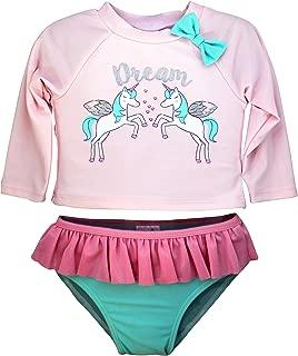 Girls Long Sleeve 2-Piece Rashguard Swimsuit Set | Swimwear for Kids