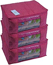 Homestrap Cotton Quilted Large Saree Cover Bag/Wardrobe Organiser - Pink - Pack of 3
