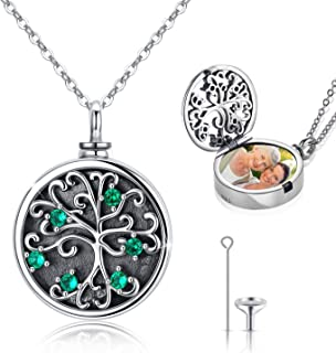 Tree of Life Locket Necklace That Hold Photos and Human Ashes, 925 Sterling Silver 2 in 1 Locket Cremation Urn Necklace, A...