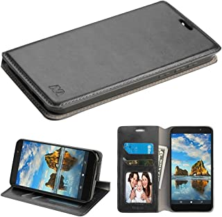 T-Mobile REVVL Case, Alcatel A30 Fierce (2017 MetroPCS) / Alcatel A30 Plus 5.5'' / Alcatel Walters, NageBee [Kickstand Feature] Premium PU Leather Flip Fold Wallet Case [ID&Credit Card Slot] (Black)
