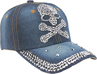 Queenbox Womens Skull Baseball Cap Rhinestone Studded Bling Denim Trucker Hat
