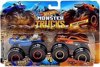 Hot Wheels Monster Trucks Demolition Doubles Giant Wheels Rodger Dodger Vs Dodge Charger R/T