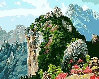 DIY数字油絵 山の中の森 キャンバス油絵大人キッズアートクラフト家の壁の装飾DIYキットブラシ&アクリル顔料絵画40X50Cmバンドの組み合わせフレーム付き