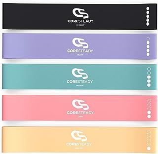 Coresteady motståndsband i slinga | Set med 5 premiumträningsband | Aktivera höfter, ben och gluteus | Strechning, mobilit...